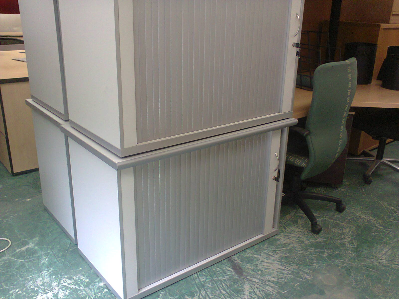 Roller Door Credenzas - WHITE Desk height