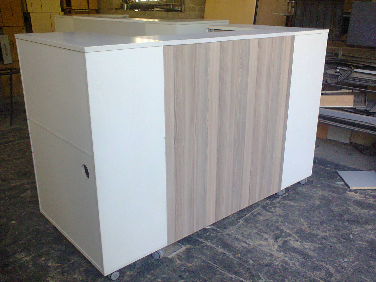 Reception Counter - White + Grey stinkwood